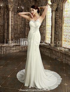 Sheath/Column Strapless/Sweetheart Chapel Train Wedding Dress (Satin) - NOK kr. 1.752