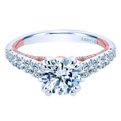 18k White/Rose Gold Round Straight Diamond Engagement Ring