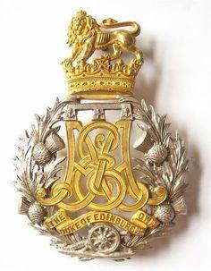 "victoriansword: "" "" Scottish Duke of Edinburgh's Own Edinburgh Militia Artillery Victorian Officer's helmet plate circa "" "" Military Ranks, Military Cap, Military History, Badge, Army Hat, Celtic Designs, Scottish Highlands, British Army, Coat Of Arms"
