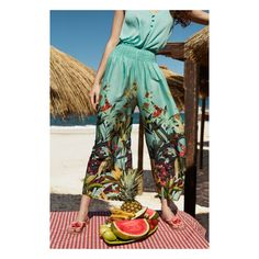 New beachwear collection infused with colours, prints and dots. Tap to shop Beachwear 2018, Printed Trousers, Bikinis, Swimwear, Beach Wear, Vacation Outfits, Street Chic, Fashion Prints, Look Fashion