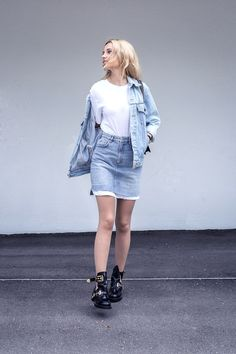 denim outfit skirt levis vintage jacket balenciaga shoes casual ootd street style fashion tumblr