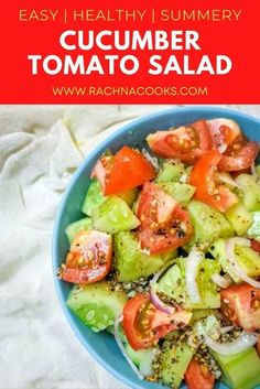 This is a perfect cucumber tomato salad recipe that is summery and super easy to put together. This is a healthy cucumber salad that is made with tomatoes and onions. You can also add avocado if you so wish. Very tasty flavours. #cucumbertomatosalad #healthyeasycucumbertomatosalad #cucumbertomatosaladvinegar
