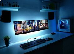Computertisch If you are passionate about game, it's time to remodel your regular room into a video game room. Check out these amazing video game room ideas! Computer Desk Setup, Gaming Room Setup, Pc Desk, Computer Tips, Computer Laptop, Computer Technology, Gaming Computer, Home Office Inspiration, Gamer Bedroom