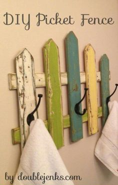 Picket Fence Towel Rack ein Tutorial von DIY Picket Fence Towel Rack ein Tutorial von Coat Rack, repurposed wood, OOAK Repurposed Coat Rack Projects All week long Craft Warehouse is going to share ideas with you on how to get organized th. Pallet Crafts, Pallet Projects, Home Projects, Wood Crafts, Woodworking Projects, Unique Woodworking, Router Woodworking, Woodworking Shop, Picket Fence Crafts