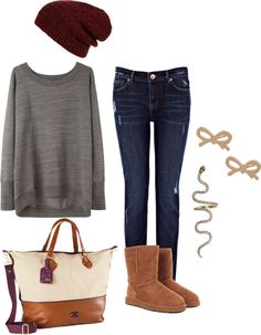 """""""Plain Comfy Outfit"""" by michaela-9-5 on Polyvore I personally have a hatred towards uggs so bye bye, uggs"""