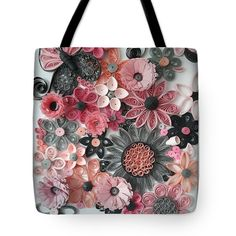 Thing 1, Poplin Fabric, Bag Sale, Pink Grey, Fine Art America, Reusable Tote Bags, Stitch, Flowers, Prints