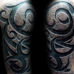 60 Tribal Tattoos For Men - Masculine Design Ideas - Manly Half Sleeve Tribal Stone Tattoos - 3d Tribal Tattoo, Tribal Tattoo Cover Up, Cover Up Tattoos For Men, Half Sleeve Tribal Tattoos, Tribal Arm, Tribal Tattoos For Men, Half Sleeve Tattoos Designs, Japanese Sleeve Tattoos, Back Tattoo