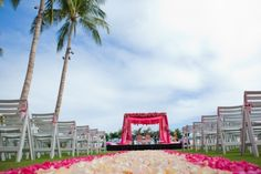 Hot Pink + Red Wedding Colors Ceremony Decor