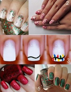 Repinning for #1. I did my nails like that & got a lot of rave reviews. They're festive yet elegant.