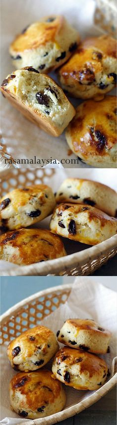 Raisin Scones - crumbly and buttery scones loaded with raisins. So easy and great for breakfast or tea | rasamalaysia.com