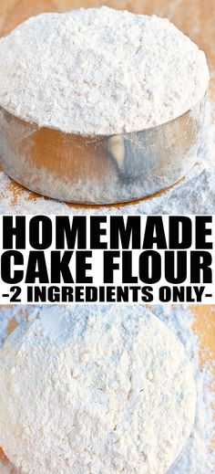Learn how to make homemade CAKE FLOUR recipe with 2 ingredients. This quick and easy cake flour substitute is cheaper than buying it at stores and great in desserts, especially cakes and cupcakes. From cakewhiz.com #baking #bakinghacks #cakeflour #cake #bakingtips