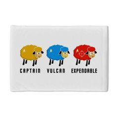 "Star Trek Sheep Pillow Case by CafePress - White by CafePress. $22.50. Super soft. 100% satisfaction guarantee return policy. Pillow opening on right side. Prints on one side, reverse is white. Pillow Case Size: 29"" x 19.5"". In the Star Trek world Red Shirts are expendable. Red SHEEP are expendable too but also funny Meet also Captain Sheep and the pointed-ear Vulcan Sheep. Enjoy"