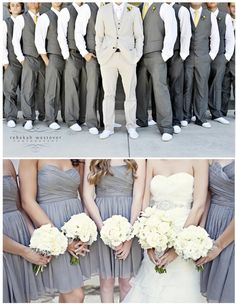 Guys in Gray Vera Wang Pants and Vest with plum tie.  Groom in the Grey Vera Wang Tux with Ivory Tie. Girls in Plum Dresses. Bride in Ivory Wedding Dress
