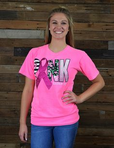 Help us raise awareness for Breast Cancer with this awesome PINK shirt. October is PINK OUT month in honor of Breast Cancer Awareness! **THIS GARMENT SHOULD BE HAND WASHED ONLY. DO NOT USE FABRIC SOFTENER**