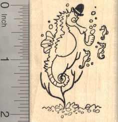 Seahorse Rubber Stamp, Father w/ Baby Fries (H24209) $10
