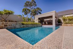 Concrete Pools Adelaide SA - Freedom Pools' custom designed concrete swimming pools can enhance with your outdoor entertainment area and lifestyle needs. Small Swimming Pools, Best Swimming, Small Fiberglass Pools, Concrete Backyard, Pool Colors, Colours, Pool Companies, Pool Installation, Bar Grill