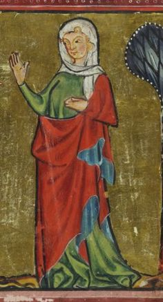 Rudolf von Ems, world chronicle. The knitter, Charlemagne. Zurich · around 1300 . Medieval Clothing, Ems, Dark Ages, Headgear, Folk Art, Needlework, Clothes For Women, History, Ursula