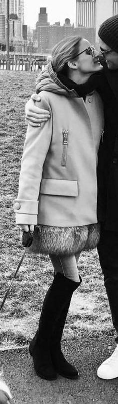 Olivia Palermo in Coat – Moncler Shoes – Stuart Weitzman Moncler, Stuart Weitzman, New York Socialites, Black Thigh High Boots, Olivia Palermo Style, Thigh Highs, Well Dressed, Everyday Fashion, Celebs