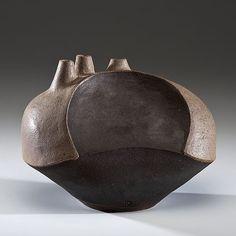 Karen Karnes; Glazed Earthenware Triple-Spout Vessel, 1998.