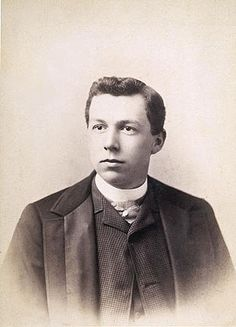 Frank Lloyd Wright Portrait (circa 1885).  In 1885 Wright takes a job working for Allan Conover, a consulting engineer in downtown Madison, Wisconsin. Published in Frank Lloyd Wright's Monona Terrace, Mollenhoff; Hamilton, 1999, page 52, Dated late 1885.  Photographer E.R. Curtiss,  Wisconsin Historical Society.