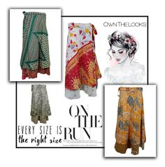 Boho Vintage Reversible Wrap Around Skirts by boho-chic-2 on Polyvore featuring vintage