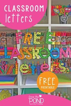 Printable Bulletin Board Letters Free DIY classroom bulletin board letters for displays, signs, messages and hallways! First Grade Classroom, Classroom Displays, Kindergarten Classroom, Future Classroom, Classroom Themes, Classroom Organization, Diy Classroom Decorations, Class Decoration Ideas, Classroom Display Boards