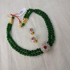 A bottle green beaded choker with zircon findings. Gold Jewellery Design, Bead Jewellery, Beaded Jewelry, India Jewelry, Ethnic Jewelry, Pearl Jewelry, Jewelry Shop, Jewelry Making, Gold Jewelry Simple