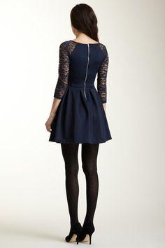 Lace Sleeve Pleated Skirt Dress