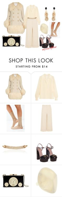 """""""CREAM OF THE CROP"""" by myownflow ❤ liked on Polyvore featuring Sonia Rykiel, Out From Under, Maison Mayle, Gucci, Kate Spade, Dinosaur Designs and Marni"""