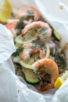 Shrimp and Rainbow Quinoa En Papillote | POPSUGAR Food