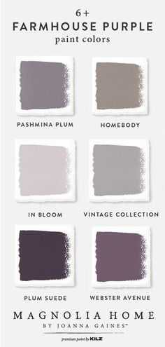 Add a splash of color to your rustic-chic interior design style with this farmhouse purple color palette from the Magnolia Home by Joanna Gaines™ Paint. Purple Paint Colors, Purple Color Palettes, Room Paint Colors, Paint Colors For Home, Bedroom Colors, Wall Colors, House Colors, Bedroom Ideas, Design Bedroom
