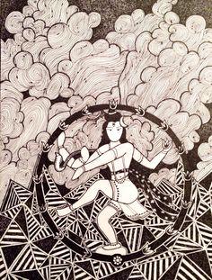 Shiva cosmic dance - Nataraja Hand drawn illustration by Pooja Pittie Wheel Of Life, Nataraja, Buddhist Art, Shiva, Cosmic, Hand Drawn, How To Draw Hands, Lord, Dance
