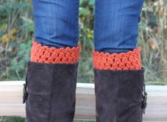 Crochet Boot Cuffs Leg Warmers Boot Socks Pumpkin by murtsss