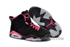 finest selection e335e c8bad Nike Air Jordan 6 Womens Black Pink Shoes 32CJp