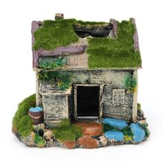 Delight eShop Aquarium Landscaping Decoration Resin House Cave Fish Tank Ornament With Moss -- You can find out more details at the link of the image. (This is an affiliate link) Habitat Store, Iron Steamer, Aquarium Accessories, Home Aquarium, Resin Material, Diy Beauty, Beauty Hacks, Fish Tank, Bird Feeders