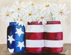 Patriotic Daisies - Virtual Event and Paint Kit Cute Canvas, Diy Canvas, Canvas Art, Canvas Paintings, Family Painting, Diy Painting, Beginner Painting, Painting Flowers, Donna Dewberry Painting