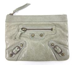 BALENCIAGA PARIS Gray Leather Small Change Purse Wallet....must have!!