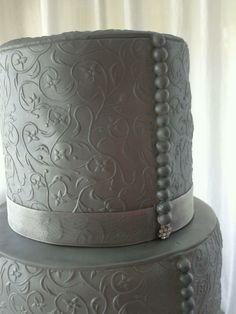 "Silver minimalist wedding cake @ ""a la Postre..."""
