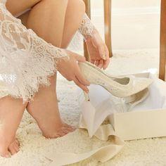 Beautiful handmade Ivory Lace Wedding Shoes by House of Elliot - Unique Vintage Inspired Bridal Shoes shipped Worldwide #laceweddingshoes