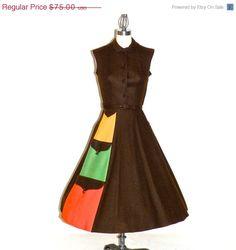 SALE Vintage 50s Dress Rockabilly 1950s Dress by daisyandstella