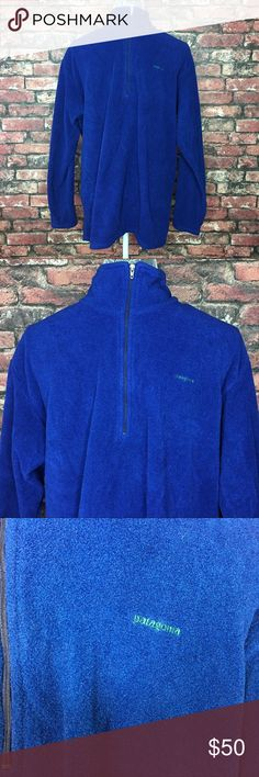 Patagonia Capilene Half Zip Fleece Pullover The perfect blue and green fleece pullover to keep you warm. Half zip with green folded down collar. In excellent condition. Patagonia Jackets & Coats Lightweight & Shirt Jackets