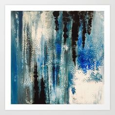 Abstract - Blue, Black, White Art Print by sophie_lemieux | Society6