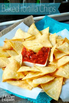 Baked Tortilla Chips - don't spend a fortune buying baked chips from the store when you can make your own at home in just a few minutes. This recipe uses corn tortillas and they are so crisp and delicious Baked Corn Tortilla Chips, Homemade Tortilla Chips, Homemade Tortillas, Baked Chips, Corn Tortillas, Tortilla Shells, Homemade Chips, How To Make Tortillas, Nacho Chips