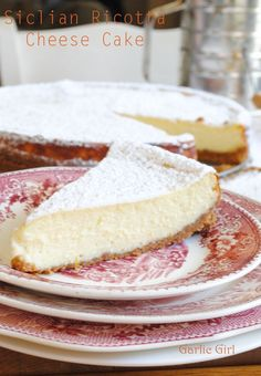 Sicilian Ricotta Cheese Cake - Easiest and tastiest cheese cake you'll ever make! Easy to make Sicilian Ricotta Cheesecake with graham cracker crust. Tested Italian cheesecake recipe that can be topped with berries or powdered sugar. Sicilian Ricotta Cheesecake Recipe, Italian Cheesecake, Cheesecake Recipes, Ricotta Pie, Pumpkin Cheesecake, Italian Desserts, Just Desserts, Italian Cookies, Dessert Crepes