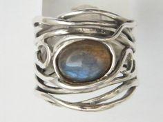 Sterling silver ring set with semi-precious stone Amethyst/ Labradorite/ Turquoise/ Opal/ Garnet