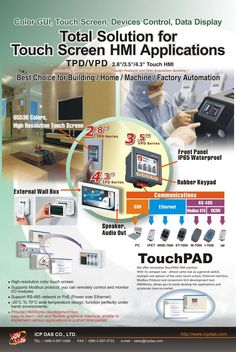 Touch Screen HMI solutions: http://www.icpdas-usa.com/touchscreen_controllers.html?r=pinterest