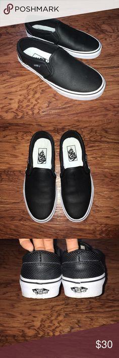 Black Slip-On Vans Black, Perforated, Faux Leather Vans Shoes