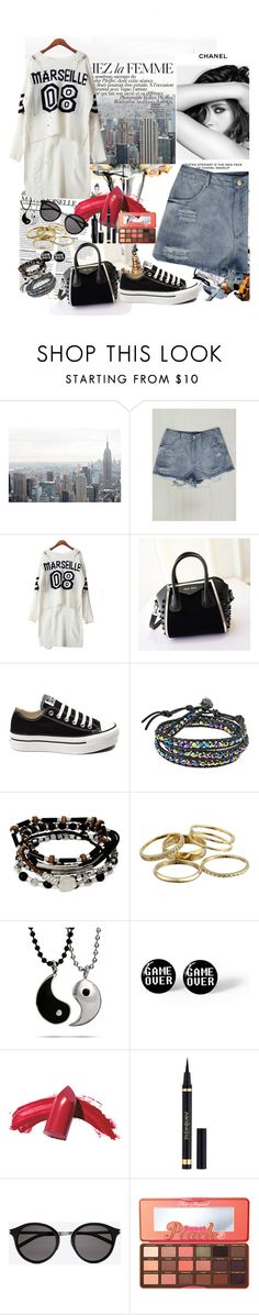"""""""Untitled #47"""" by mila96h ❤ liked on Polyvore featuring Chanel, La Femme, Converse, AeraVida, Kenneth Cole, Kendra Scott, Elizabeth Arden, Yves Saint Laurent, Too Faced Cosmetics and Marc Jacobs"""