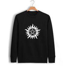 US TV Show Supernatural SPN Logo Print Black Mens Autumn Sweatshirt Man Novelty…