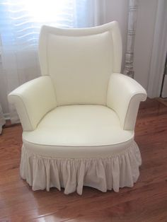 this upholstered chair was painted with Annie Sloan chalk paint mixed with fabric medium>>>>awesome!